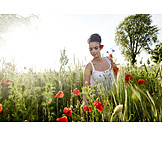 Young woman, Nature, Pick, Rural scene