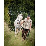 Man, Horse, Rural scene