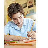 Boy, Child, Drawing, Homework