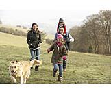 Walk, Dog, Family, Golden retriever