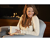Woman, Comfortable, Book, Fireplace