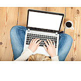 Woman, Home, Laptop, Online