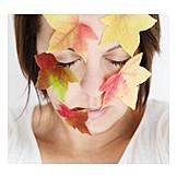 Woman, Autumn leaf, Leaf