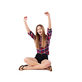 Teenager, Sitting, Cheering