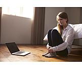 Woman, Anxious, Laptop, Bedroom