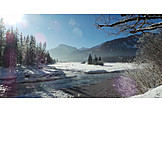 Winter landscape, Riverbed, Rißbach