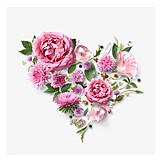 Heart, Valentine, Flowers