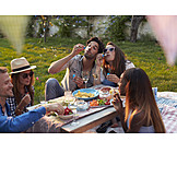 Picnic, Friends, Bubble wand, Garden party