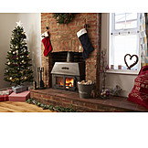 Christmas decoration, Christmas tree, Fireplace