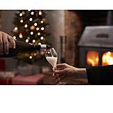 Christmas, Champagne, Pouring, Advent season
