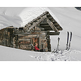 Winter, Cabin, Winter holidays, Skier, Rest