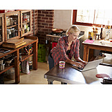 Woman, Home, Modern, Online