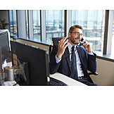 Businessman, Laughing, On the phone