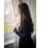 Teenager, Mädchen, Fenster, Melancholisch, Hinausschauen