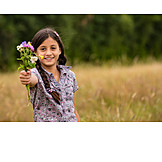 Child, Girl, Flowers, Bouquet, Pick
