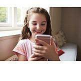 Girl, Smart Phone, Looking