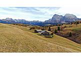 Mountain lodge, Dolomites, Seiser alm