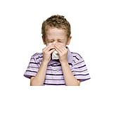 Kind, Schnupfen, Nase Putzen, Schnäuzen