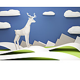 Landscape, Deer, Geometric, Polygon