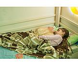 Child, Cat, Sleeping, Crib