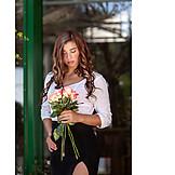 Woman, Rose bouquet