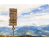 Footpath sign, Sarntal alps