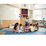 Kinder, Kindergarten, Vorlesen, Kindergärtnerin