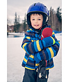 Child, Skiing, Helmet
