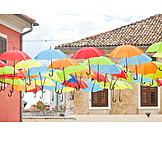 Old town, Novigrad, Umbrellas