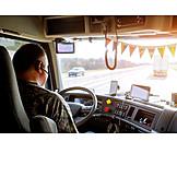 Highway, Steering wheel, Truck driver