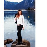 Woman, Lake, Excursion, Casual