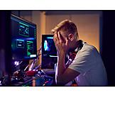 Teenager, Pc, Tired, Programming