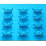 Blue, Paper boat, Origami