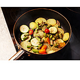 Vegetable, Frying pan, Searing