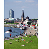 Urban life, Düsseldorf, Rhine