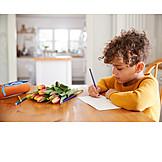 Kind, Geburtstag, Schreiben, Blumenstrauß, Muttertag