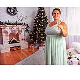 Young woman, Sparkling, Christmas, Plump
