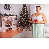 Young woman, Christmas, Gift, Plump
