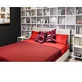 Double bed, Book shelf, Bedroom