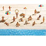 Sunbathing, Beach holiday, Miniature, Beach holiday