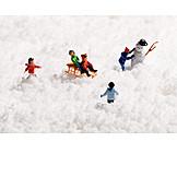 Schnee, Spielen, Kinder, Miniatur