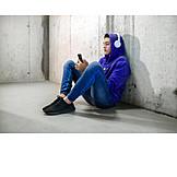 Teenager, Insulation, Headphones, Smart Phone, Listening Music