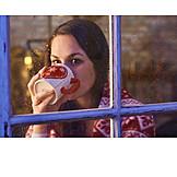 Home, Window, Winter time, Tea, Dreaming